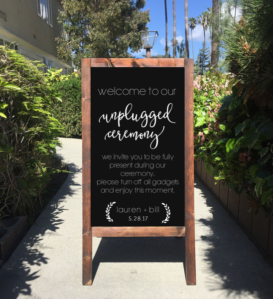 Unplugged Ceremony Wedding Sign Chalkboard - Welcome To Our unplugged Ceremony Rustic Wedding Chalkboard Sandwich Board | Wedding Easel Sign - Heart And Hand