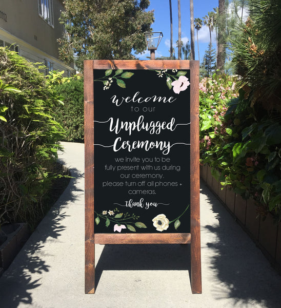 Unplugged Ceremony Wedding Sign Rustic Chalkboard - Welcome To Our unplugged Ceremony Rustic Wedding Chalkboard Sandwich Board | Wedding Easel Sign - Heart And Hand