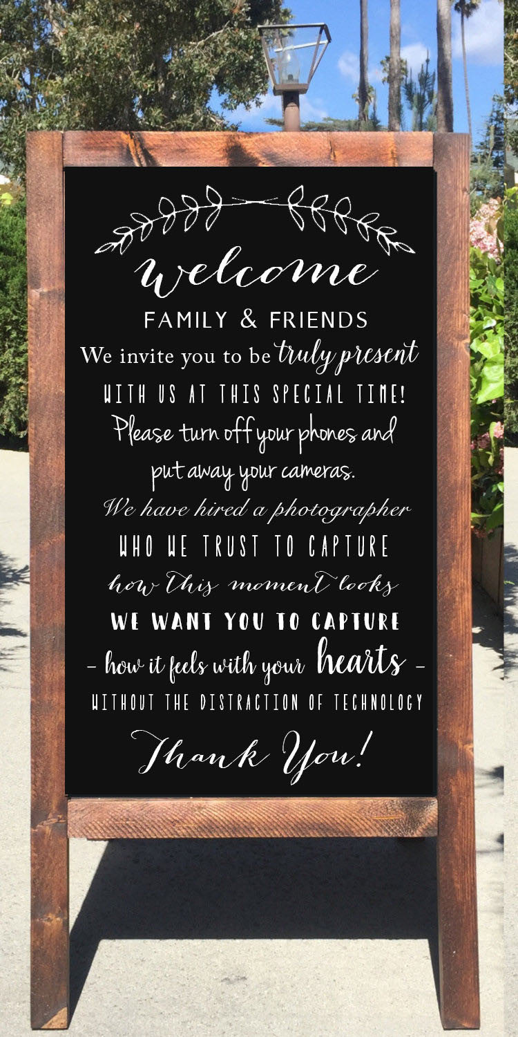 Unplugged ceremony wedding sign welcome to our unplugged unplugged ceremony wedding sign welcome to our unplugged ceremony rustic wedding chalkboard sandwich board junglespirit Image collections