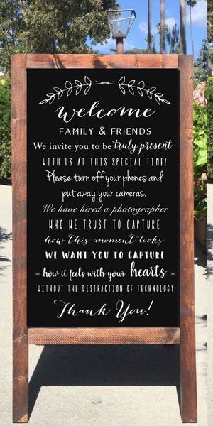 Unplugged Ceremony Wedding Sign - Welcome To Our unplugged Ceremony Rustic Wedding Chalkboard Sandwich Board | Wedding Easel Sign - Heart And Hand
