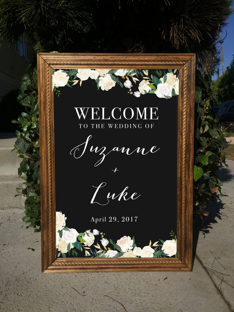 Welcome Wedding Sign - Rustic Wedding Framed Chalkboard | Wedding Easel Chalkboard Sign - Heart And Hand