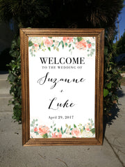 Welcome Wedding Sign - Rustic Wedding Framed Sign - Heart And Hand