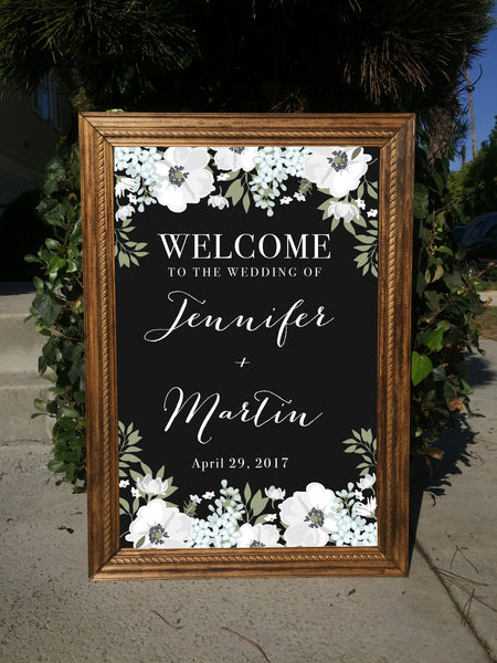 Welcome Wedding Sign - Rustic Wedding Framed Chalkboard | Wedding Easel Chalkboard Sign
