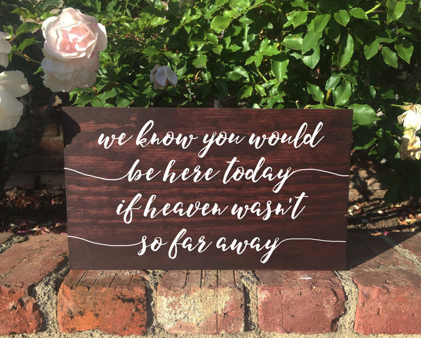 Rustic Wedding Remembrance Sign - We Know You Would Be Here Today If Heaven Wasn't So Far Away - Heart And Hand