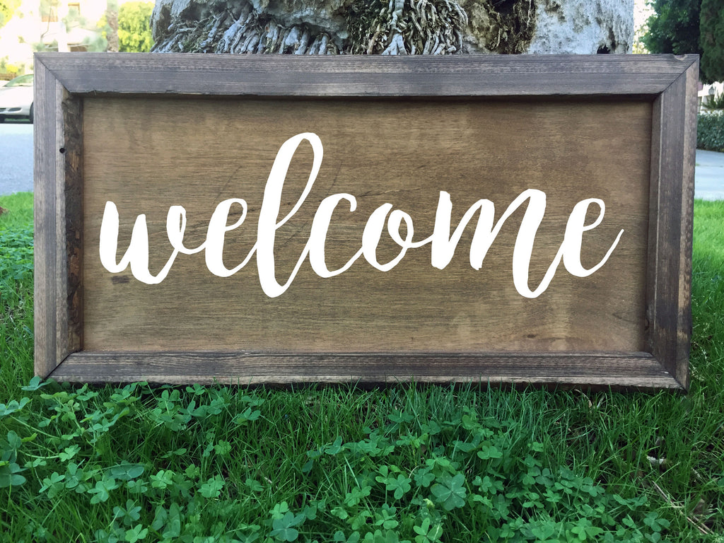Welcome - Framed Artwork Wooden Rustic Home Decor Hand Painted Sign - Heart And Hand