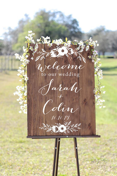 Welcome To Our Wedding Wooden Board Sign - Welcome Wedding Sign Wooden Board - Heart And Hand