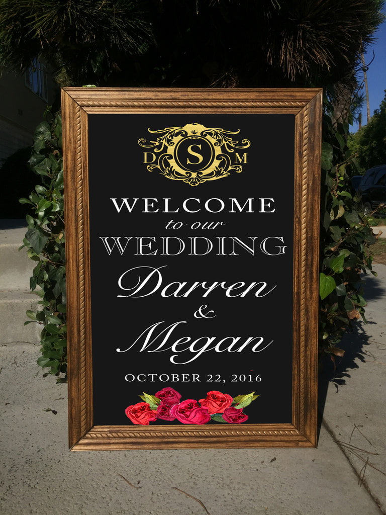 Welcome Wedding Sign - Rustic Wedding Framed Chalkboard Crest Monogram | Wedding Easel Chalkboard Sign - Heart And Hand