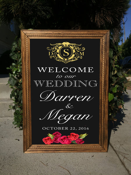 Welcome Wedding Sign - Rustic Wedding Framed Chalkboard Crest Monogram | Wedding Easel Chalkboard Sign