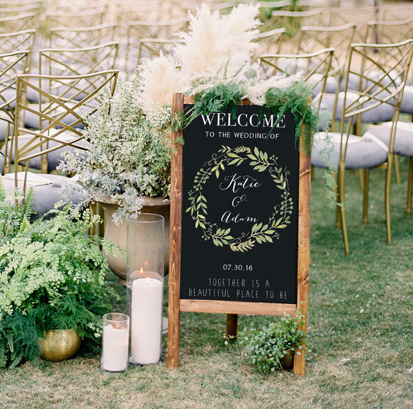 Welcome Wedding Sign - Rustic Wedding Chalkboard Sandwich Board | Wedding Easel Chalkboard Sign - Heart And Hand