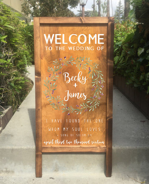 Welcome Wooden Wedding Sign - Rustic Wedding Wooden Sandwich Board I have Found The one Whom My Soul Loves | Wedding Easel Sign - Heart And Hand