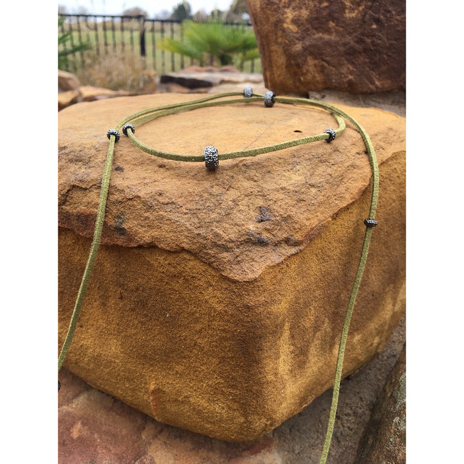 Olive Leather Lariat Necklace - Southern Clothing Boutique