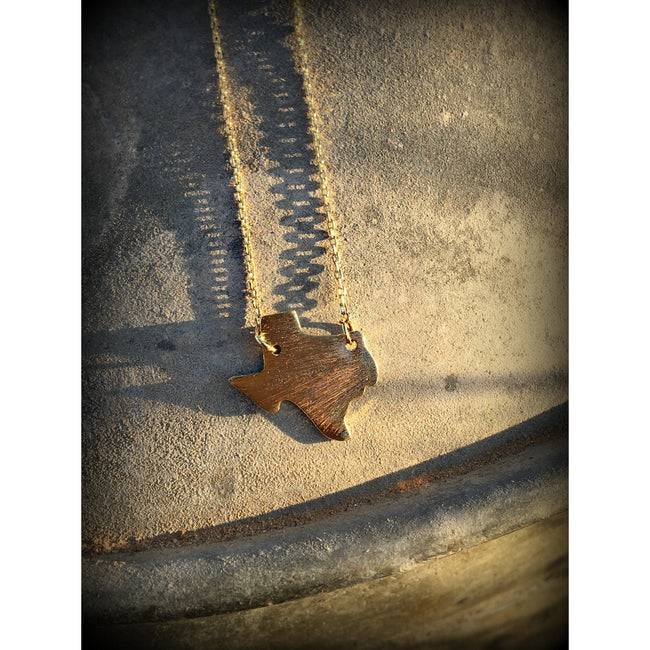 Texas Brushed Charm Necklace- Gold - Southern Clothing Boutique