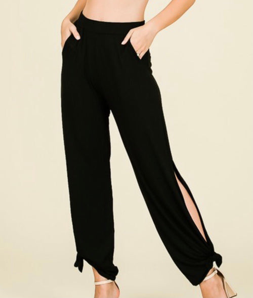 Side Split Pants- black
