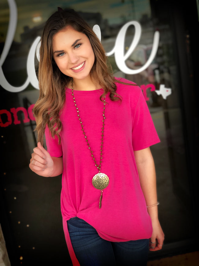 Keepin' it Casual Tee- fuchsia