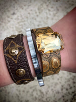 Gold Cinch Cuff with Stone - Southern Clothing Boutique