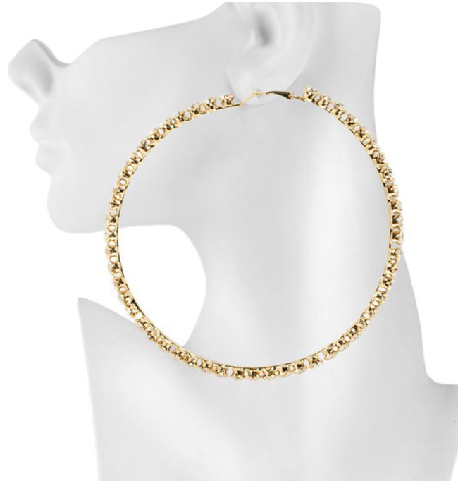 Glam Rhinestone Hoops - GOLD