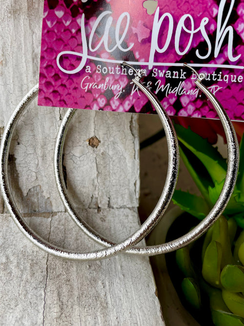 Metal Hoop Earrings- silver