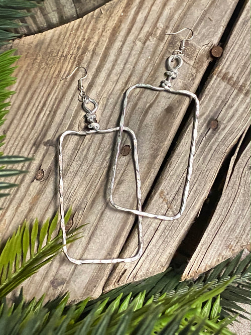 Large & Light Rectangle Dangles - Silver