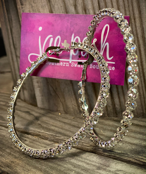 THE Rhinestone Hoops Silver - XXL