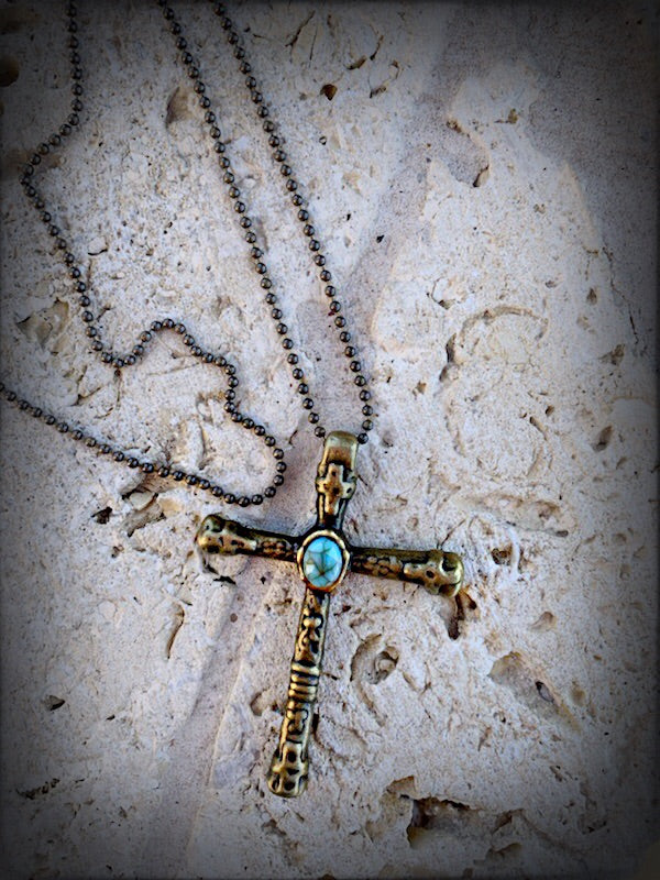 Antique Turq Cross Necklace - Southern Clothing Boutique