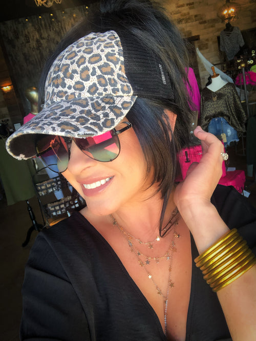 Leopard High Ponytail Cap