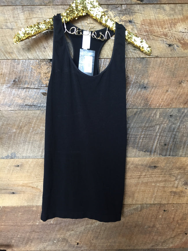 Seamless Racerback Tank- Black - Southern Clothing Boutique