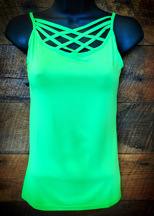 Caged Cami - Neon Green