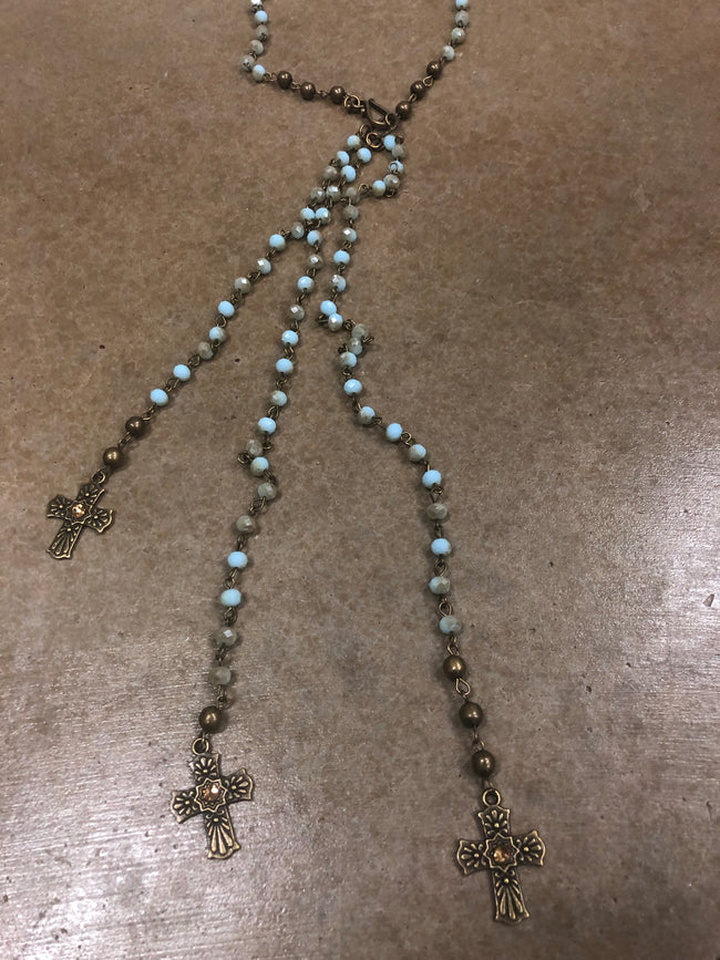 Trilogy Cross Necklace- turquoise