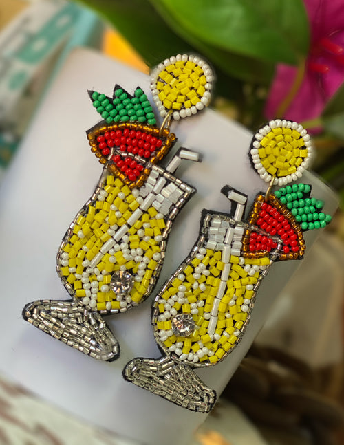 Piña Colada Beaded Earrings