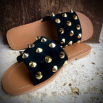 Crusade Studded Slides-black