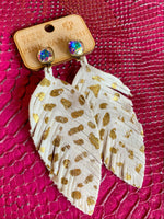 Ruffled Feathers Earrings - Gold Splash