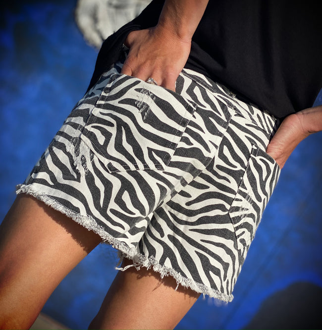 Zebra Frayed Shorts
