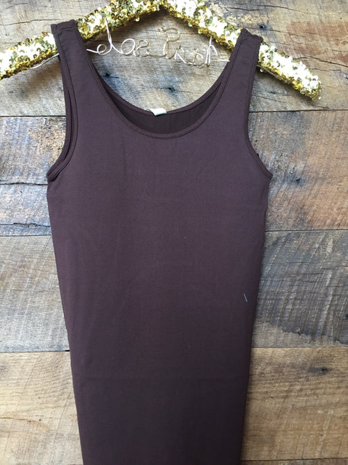 Seamless Wide Strap Tank- Brown