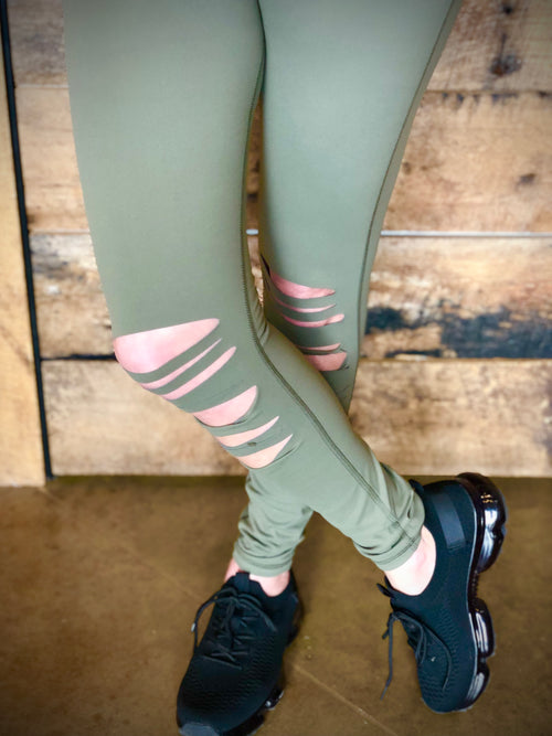 Cut it Out Leggings-olive