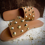 Crusade Studded Slides-tan