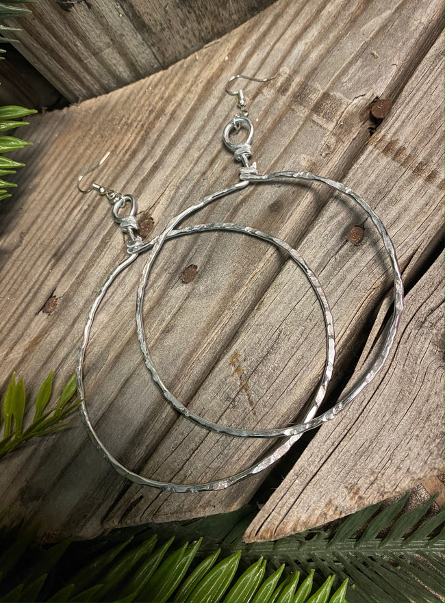 Large & Light Hoop Dangles - Silver