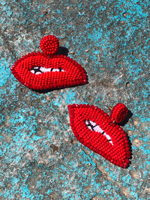 Kiss This Earrings-red