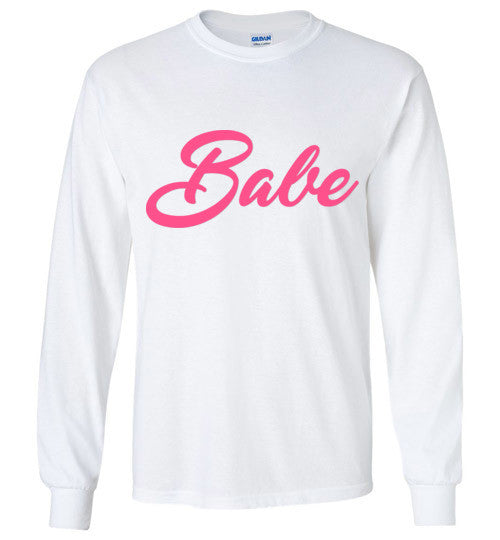 White Long SLeeve Tshirt with Pink BABE wording