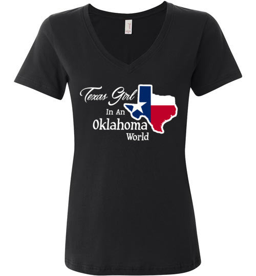 Texas Girl in an Oklahoma World (v neck)