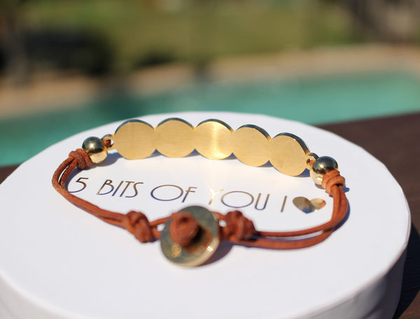 Bits Of You Bracelet - Brown and gold
