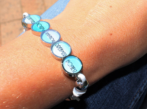 Bits Of You Bracelet: White and silver