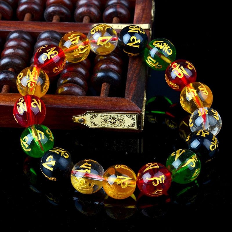 Shamballa Engraved Glass Stone Multi Color Bracelets for Health & Longevity