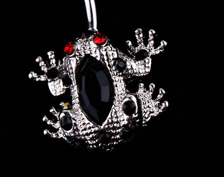 Frog Shaped Trendy Body Piercing Jewelry Rhinestones Belly Button Ring