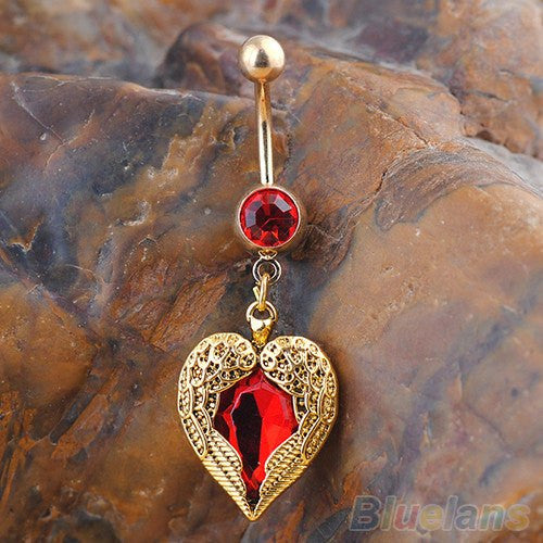Golden Love Heart  Body Piercing Rhinestone Belly Button Ring