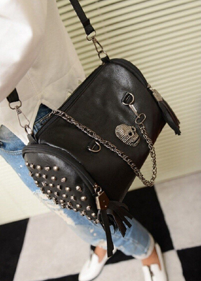 Tassel Skull leather Shoulder Bag