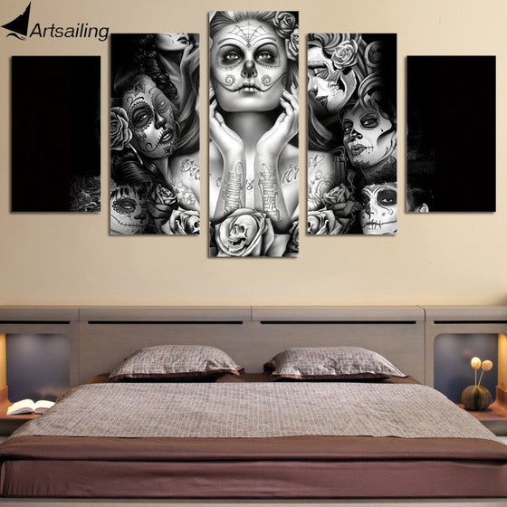 Day of the Dead Face - 5 Piece Canvas Painting