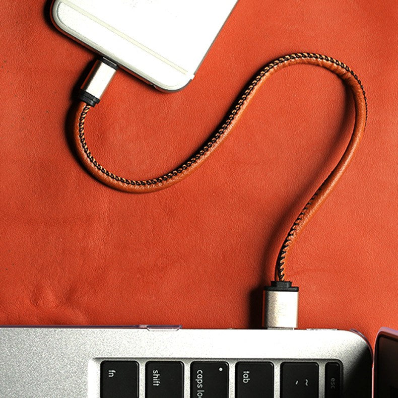 Genuine Leather Data Wire Keyring For iPhone & Android