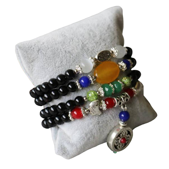 Black Agate Bracelet - with Opal Jade Beads - 6mm - Wincia.com