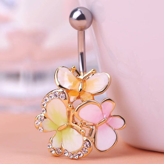 Golden Crystal Butterfly Belly Button Ring