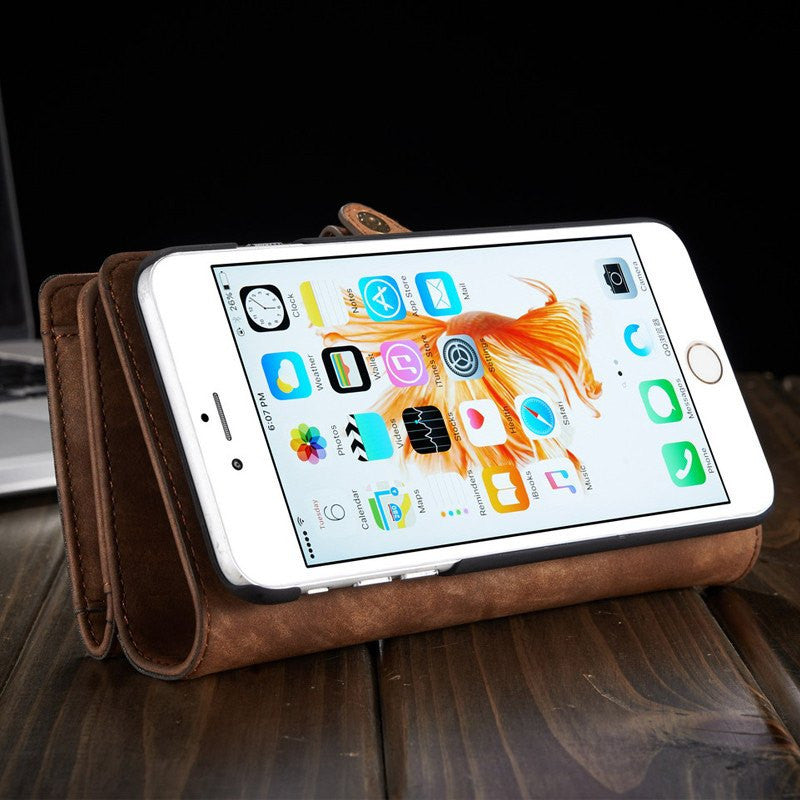 Wincia Multi Functional 2 in 1 Wallet Cover Genuine Leather Case for iPhone